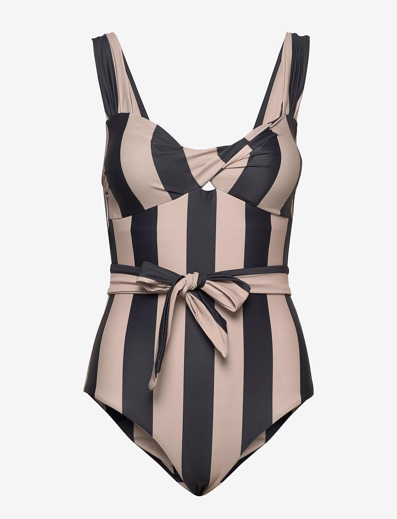 Notes du Nord - Obi Twist Swimsuit - baddräkter - noir stripe - 1
