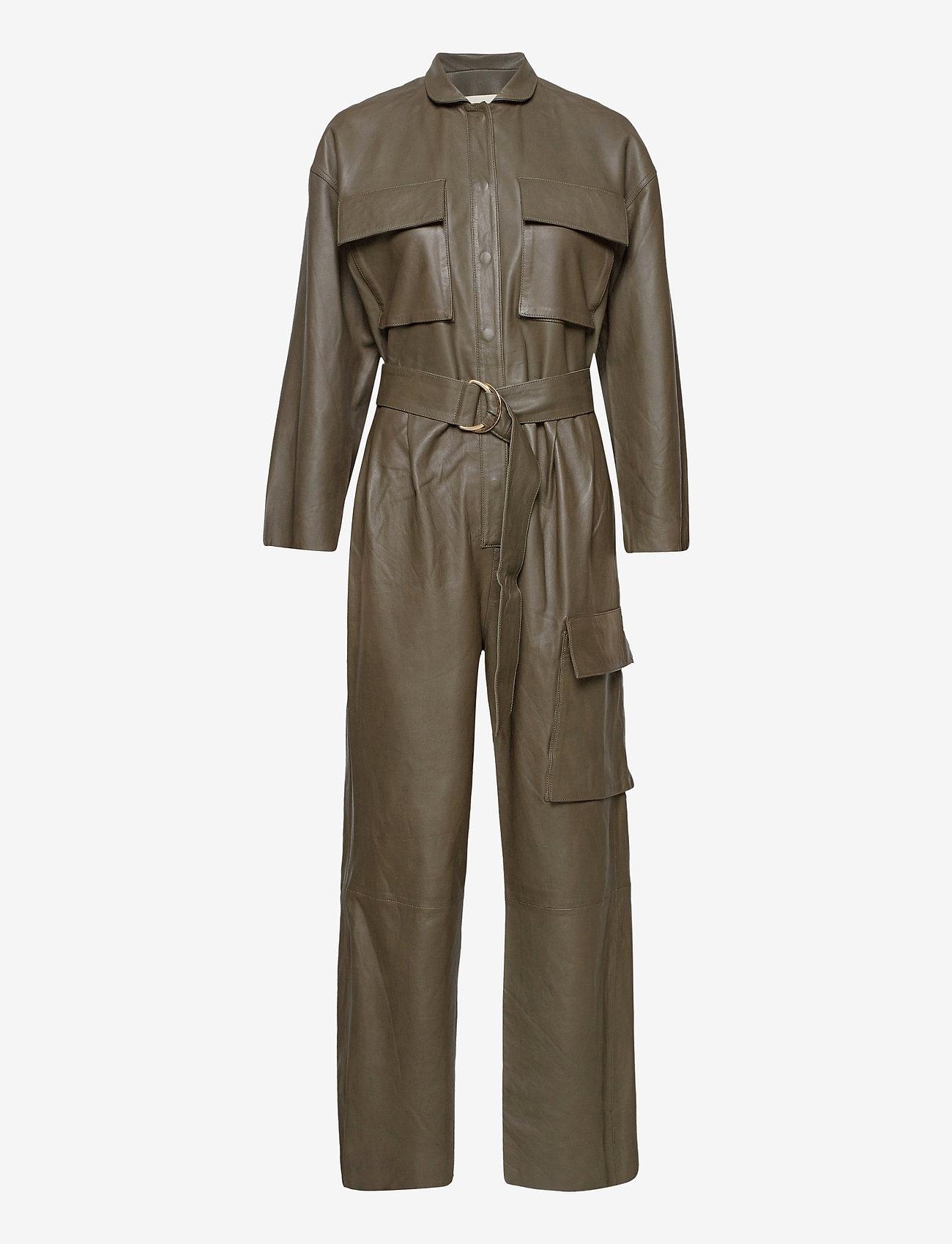 Notes du Nord - Rose Leather Jumpsuit - jumpsuits - dark olive - 0