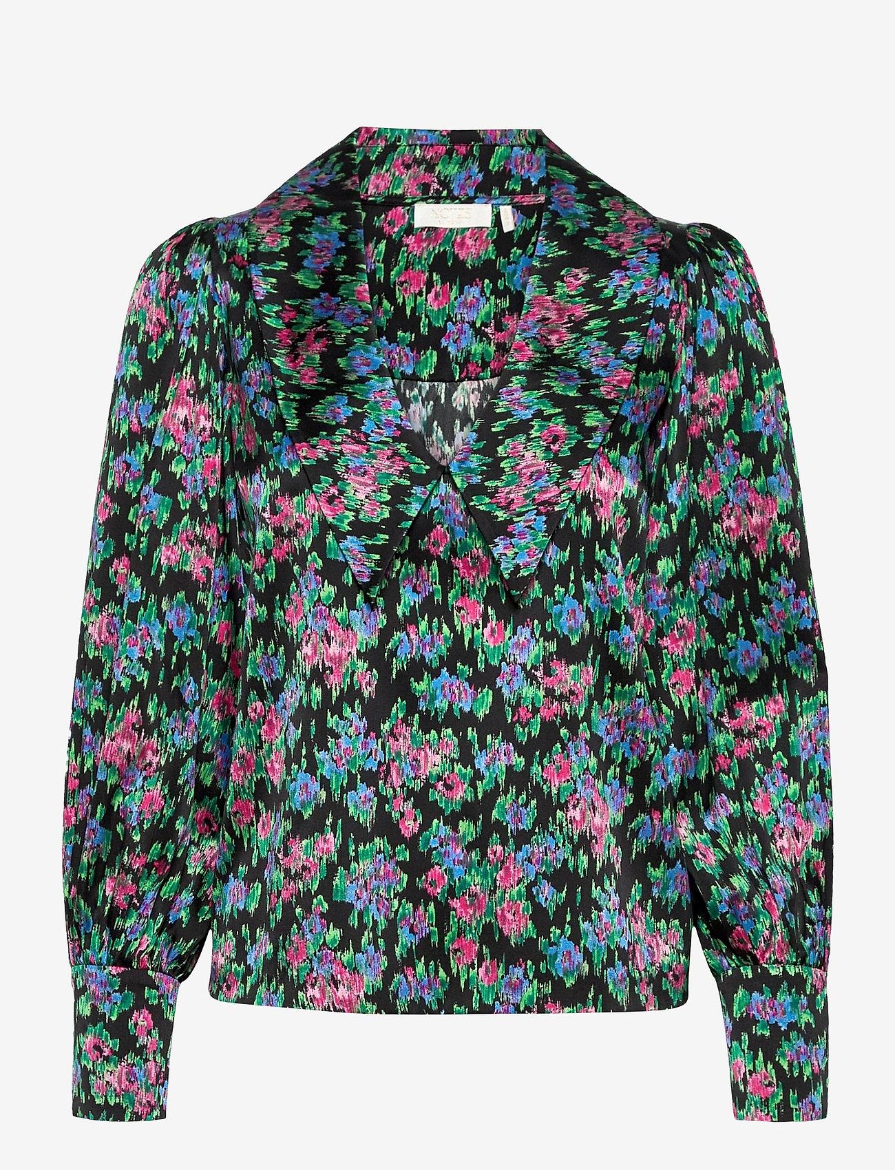 Notes du Nord - Sara Organic Silk Blouse - långärmade skjortor - flower  dream - 0