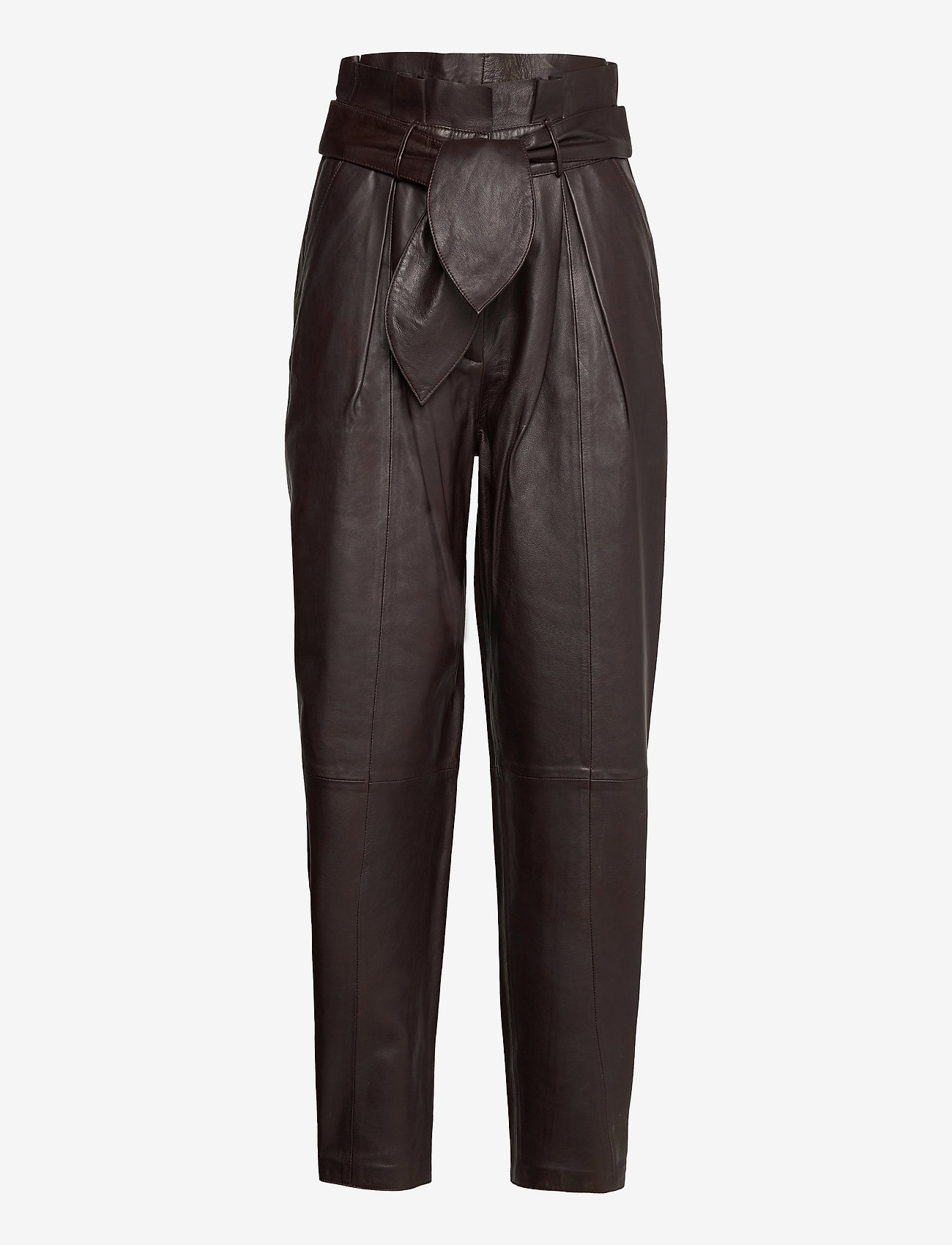 Notes du Nord - Sydney Leather Pants - skinnbyxor - dark chocolate - 0