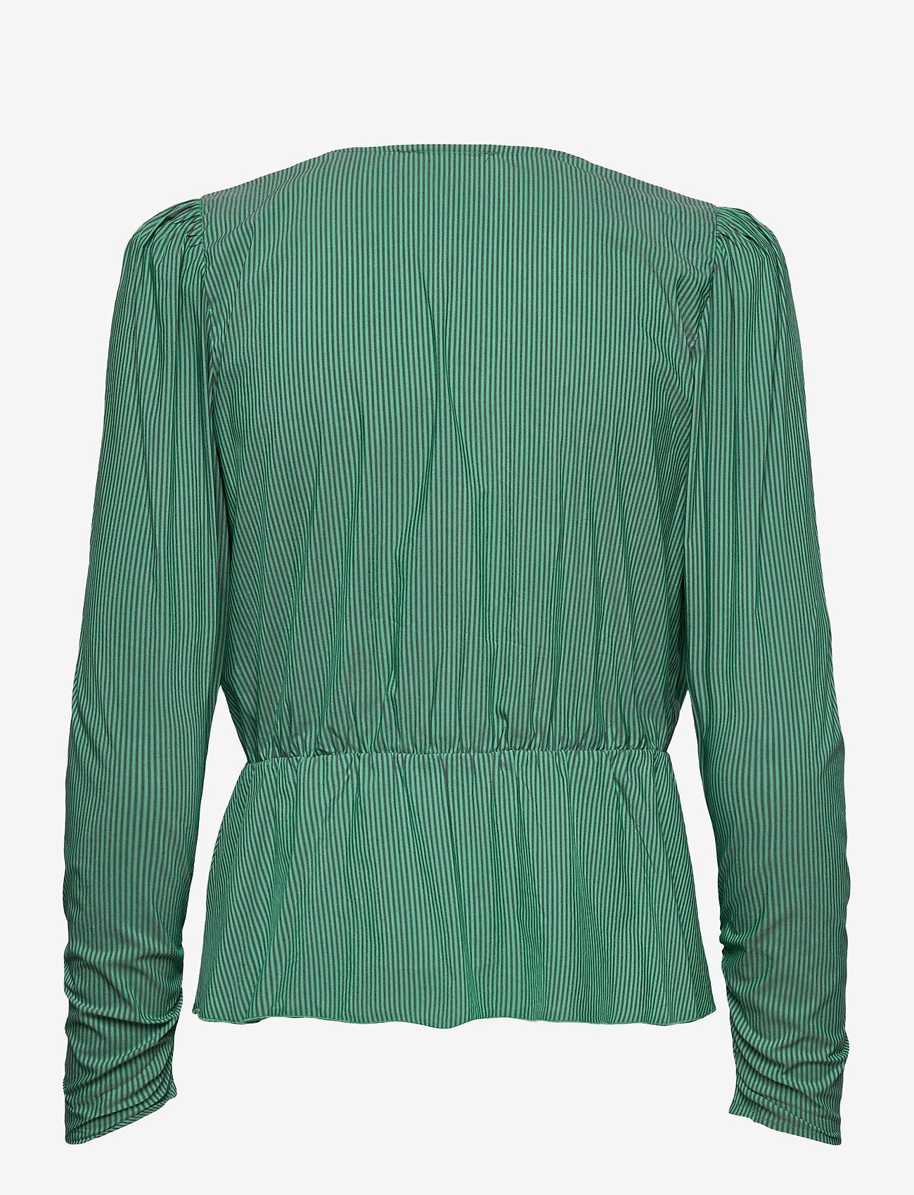 Notes du Nord - Whitney Blouse - långärmade blusar - green stripe - 1