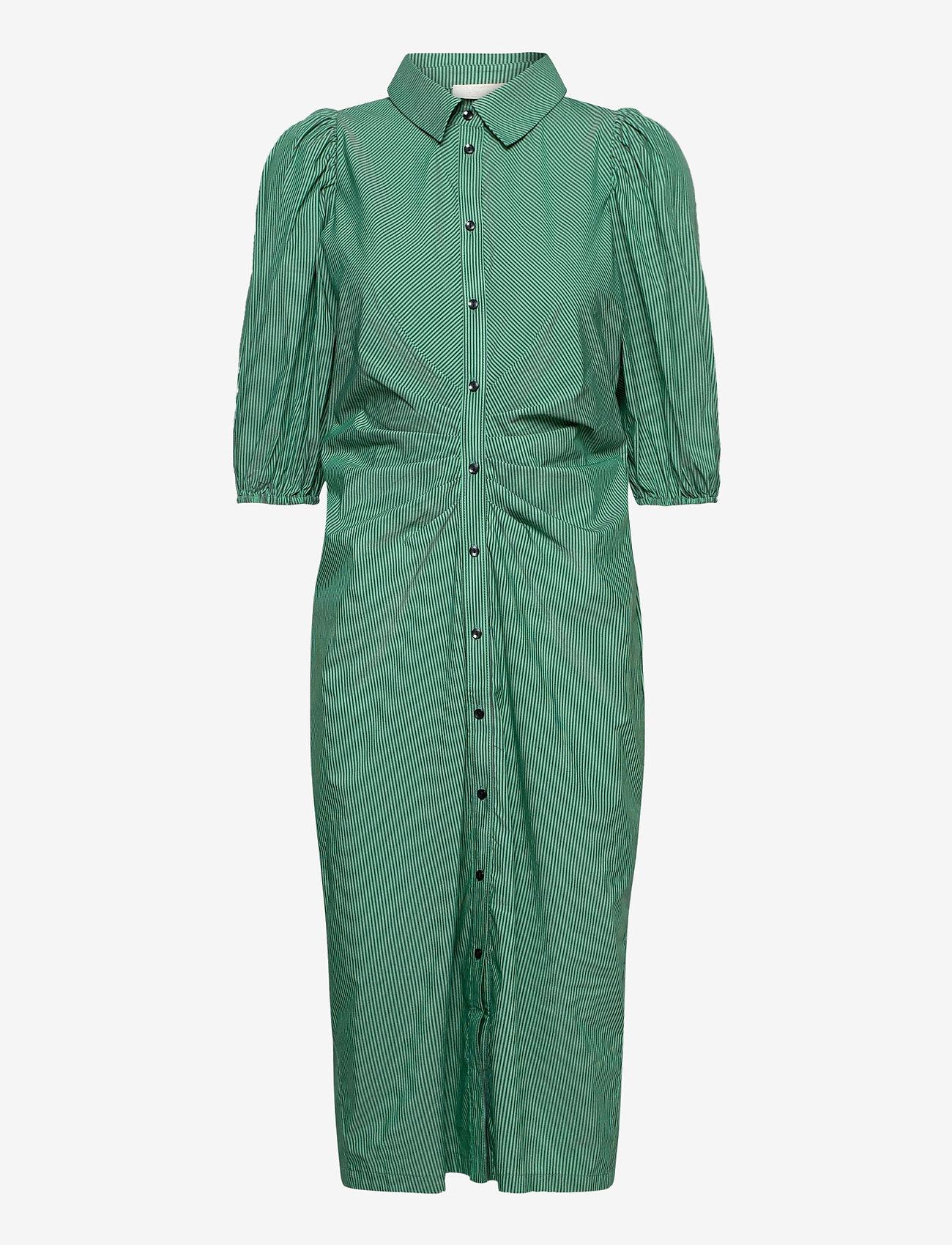 Notes du Nord - Whitney Dress - vardagsklänningar - green stripe - 0