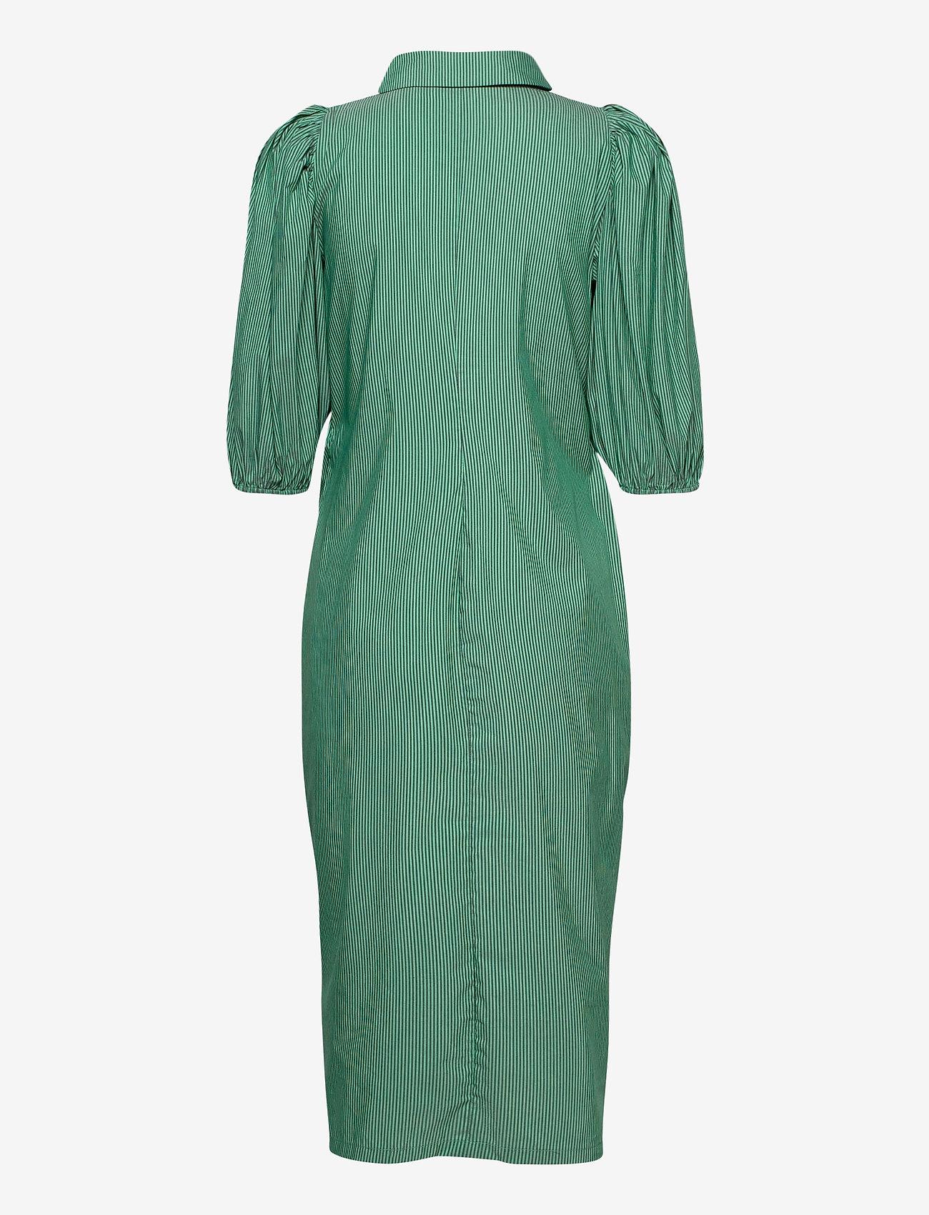Notes du Nord - Whitney Dress - vardagsklänningar - green stripe - 1