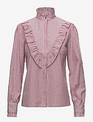 Notes du Nord - Item Ruffle Shirt - blouses à manches longues - bordeaux stripe - 0