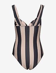 Notes du Nord - Obi Twist Swimsuit - baddräkter - noir stripe - 2