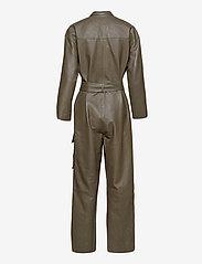 Notes du Nord - Rose Leather Jumpsuit - jumpsuits - dark olive - 1