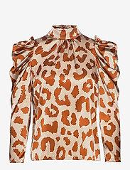 Notes du Nord - Rihanna Leopard Silk Blouse - långärmade blusar - leopard - 0