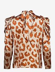 Notes du Nord - Rihanna Leopard Silk Blouse - långärmade blusar - leopard - 1