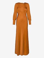 Notes du Nord - Rosalia Silk Dress - maxiklänningar - burnt orange - 0