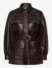 Notes du Nord - Sydney Leather Shirt - skinnjackor - dark chocolate - 0