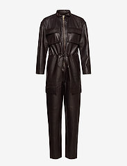 Notes du Nord - Sassy Leather Jumpsuit - jumpsuits - dark chocolate - 0