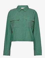 Notes du Nord - Whitney Shirt - långärmade blusar - green stripe - 0