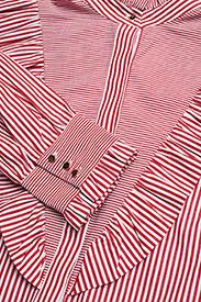 Notes du Nord - Item Ruffle Shirt - blouses à manches longues - bordeaux stripe - 2