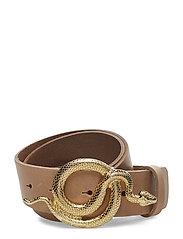 Milo Leather Belt - NUDE/GOLD