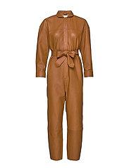 Nixon Leather Jumpsuit - COGNAC