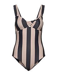 Obi Twist Swimsuit - NOIR STRIPE