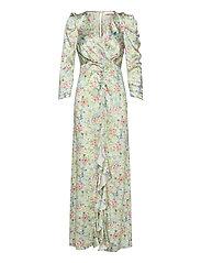 Odeon Drape Silk Dress P - ROMANTIC FLOWER