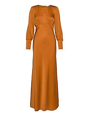 Rosalia Silk Dress - BURNT ORANGE