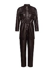 Sassy Leather Jumpsuit - DARK CHOCOLATE