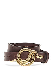 Paxton Leather Belt - CHOCOLATE/GOLD