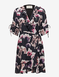 Heat Short Dress - DARK FLOWER