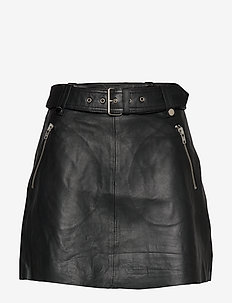 Magnolia Leather Skirt - NOIR
