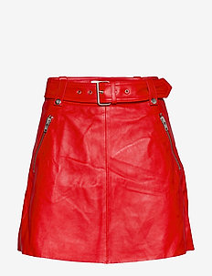 Magnolia Leather Skirt - SCARLET RED
