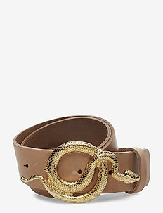 Milo Leather Belt - NUDE/GOLD
