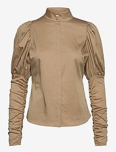 Nila Shirt - långärmade skjortor - beige