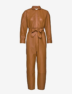 Nixon Leather Jumpsuit - COGNAC