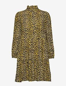 Olivia Short Dress - LEMON LEOPARD