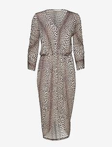 Dallas LS Drape Dress P - LEOPARD