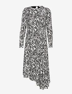 Nicci Drape Dress - midiklänningar - cream zebra