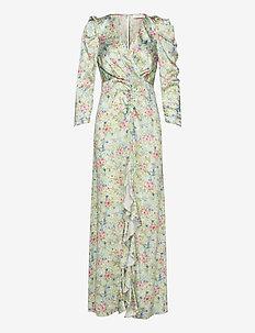 Odeon Drape Silk Dress P - wrap dresses - romantic flower