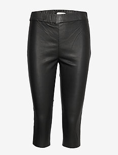 Orlando Cropped Leather Leggings - NOIR