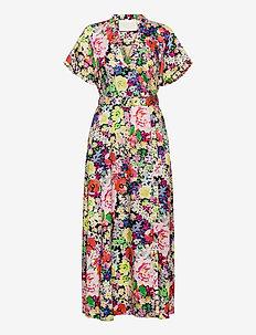 Paris Wrap Dress P - skjortklänningar - wild flower