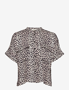 Papaya Top - kortärmade blusar - noir leopard