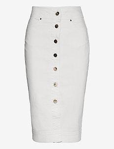 Phoenix Denim Skirt Cream - jeansowe spódnice - cream