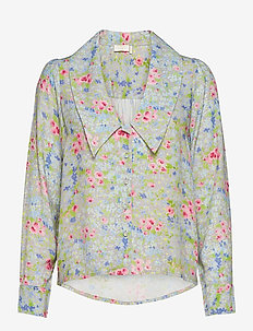 Samantha Flower Shirt - långärmade skjortor - romantic flower