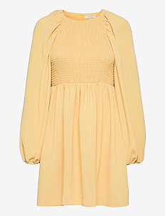 Oliana Smock Dress - sommerkjoler - soft lemon