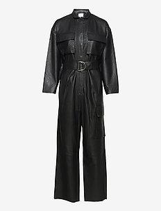 Taz Leather Jumpsuit - jumpsuits - noir
