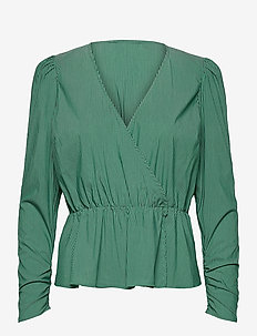Whitney Blouse - langermede bluser - green stripe