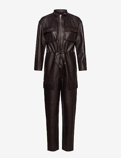 Sassy Leather Jumpsuit - kleidung - dark chocolate