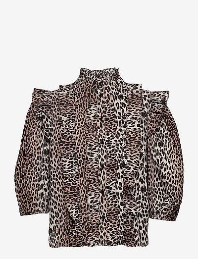 Vicky Ruffle Top - langærmede bluser - leopard