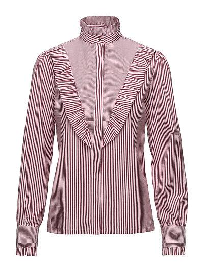 Item Ruffle Shirt - BORDEAUX STRIPE