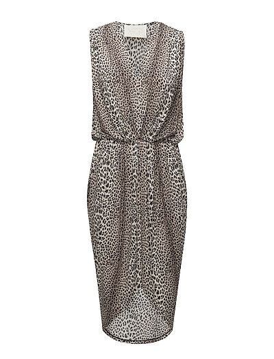 Dallas Drape Dress P - LEOPARD