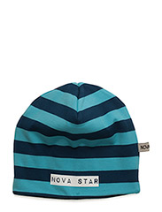 W-Beanie Striped Blue - BLUE