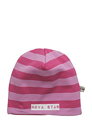 W-Beanie Striped Pink - PINK