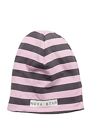 W-Beanie Striped - PINK/DARKGREY