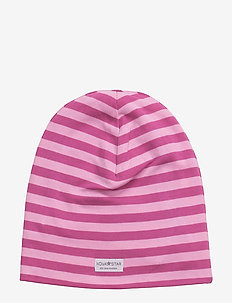 NB Pink Striped Bean - hats - pink